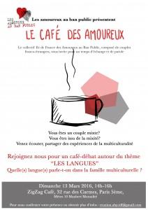 affiche café des Amoureux les langues